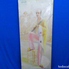 Arte: ÓLEO EN TELA DE JOAN BERMÚDEZ 1976. DANN CLOWN. CIRCO.. Lote 262817255