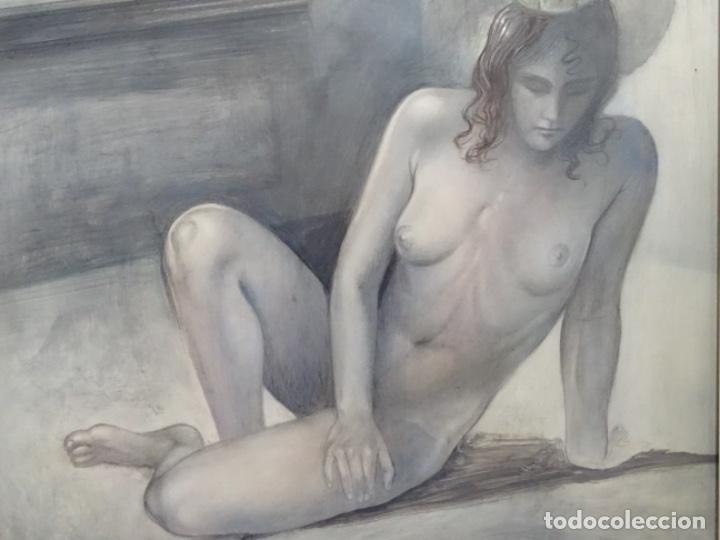 Arte: ÓLEO EN TABLEX DE JOAN RIFA I BENET (TORELLO 1926-2009). LA INÚTIL ESPERANZA. 1979. - Foto 3 - 262818685