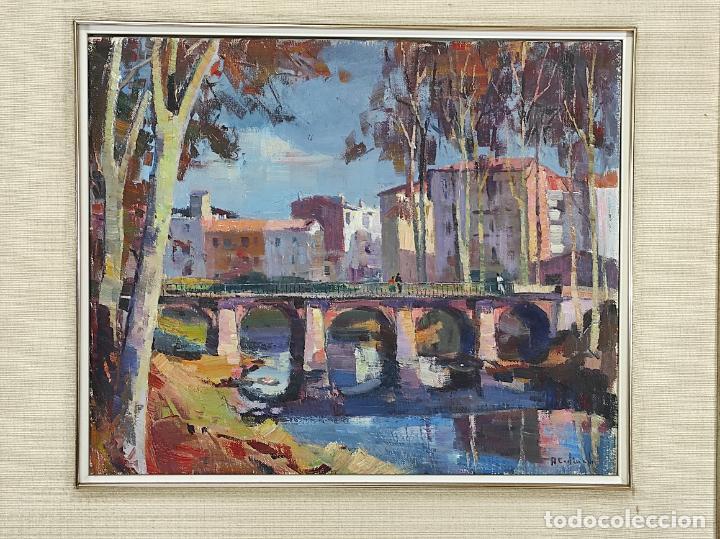 Arte: Angel Codinach (Olot 1922- Girona 1995) - Óleo sobre Tela - Paisaje, Pont de les Mores, Olot - Foto 2 - 262839530