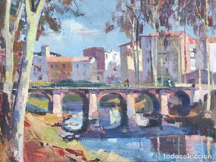 Arte: Angel Codinach (Olot 1922- Girona 1995) - Óleo sobre Tela - Paisaje, Pont de les Mores, Olot - Foto 3 - 262839530