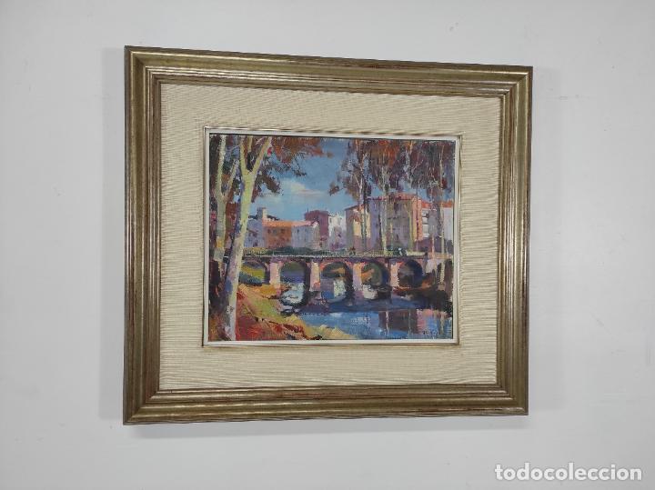 Arte: Angel Codinach (Olot 1922- Girona 1995) - Óleo sobre Tela - Paisaje, Pont de les Mores, Olot - Foto 5 - 262839530
