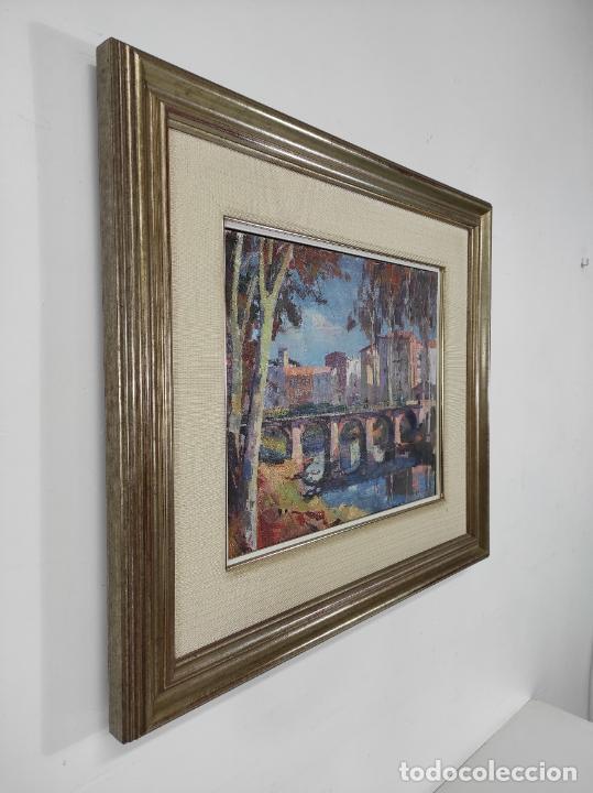 Arte: Angel Codinach (Olot 1922- Girona 1995) - Óleo sobre Tela - Paisaje, Pont de les Mores, Olot - Foto 6 - 262839530