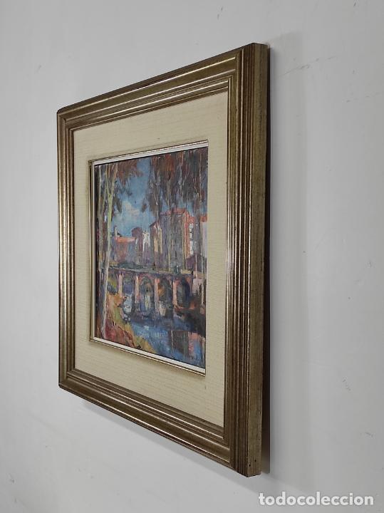 Arte: Angel Codinach (Olot 1922- Girona 1995) - Óleo sobre Tela - Paisaje, Pont de les Mores, Olot - Foto 7 - 262839530