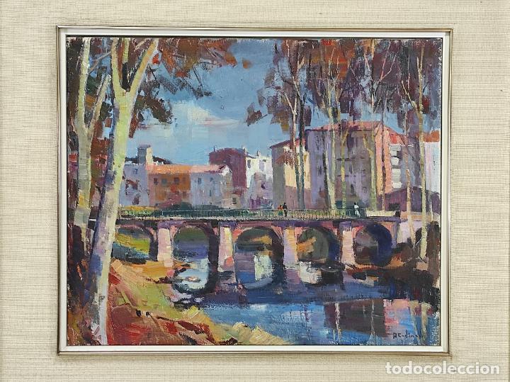 Arte: Angel Codinach (Olot 1922- Girona 1995) - Óleo sobre Tela - Paisaje, Pont de les Mores, Olot - Foto 9 - 262839530