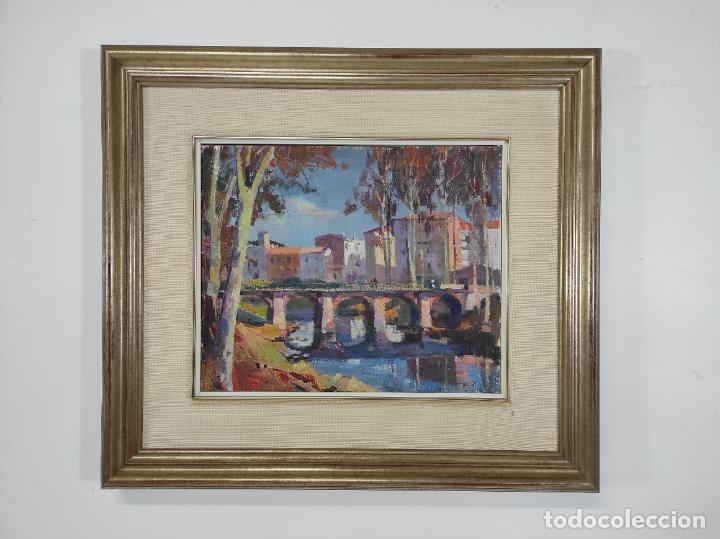 Arte: Angel Codinach (Olot 1922- Girona 1995) - Óleo sobre Tela - Paisaje, Pont de les Mores, Olot - Foto 10 - 262839530