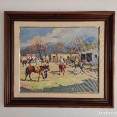 Arte: PERE DANÉS BERGA (VALL DE BIANYA, 1945) - ÓLEO SOBRE TELA - PAISAJE - HÍPICA - AÑO 1988. Lote 262846055