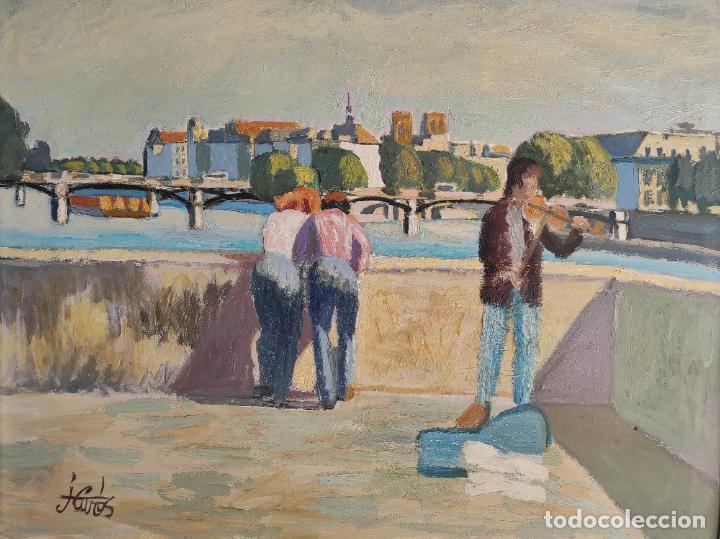 Arte: J. Curos (Girona 1937- Barcelona 2017) - Óleo sobre Tela - Paisaje - Foto 4 - 262857715
