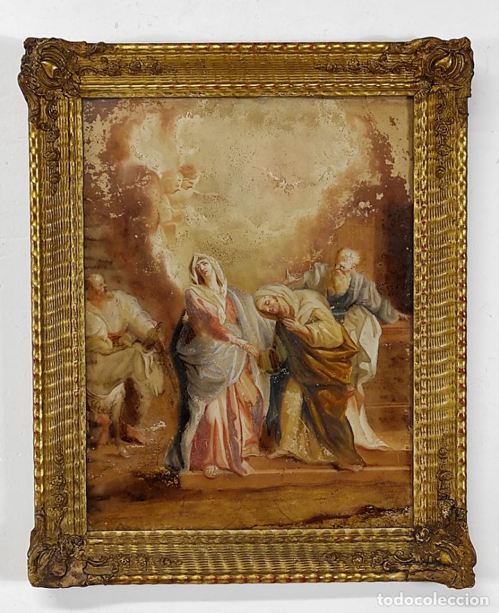 LA VISITA DE NUESTRA SEÑORA - ÓLEO SOBRE CRISTAL - MARCO DORADO - S. XVIII-XIX (Arte - Pintura - Pintura al Óleo Antigua siglo XVIII)