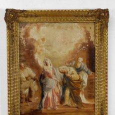 Arte: LA VISITA DE NUESTRA SEÑORA - ÓLEO SOBRE CRISTAL - MARCO DORADO - S. XVIII-XIX. Lote 262862200