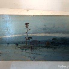 Arte: BONITO OLEO SOBRE TABLA, PAISAJE. FIRMA ILEGIBLE.. Lote 262912365