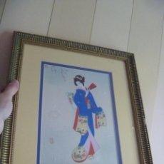 Arte: PINTURA SOBRE SEDA JAPONESA KIMONO FLOR CEREZO TIPO GOUACHE. Lote 262945035
