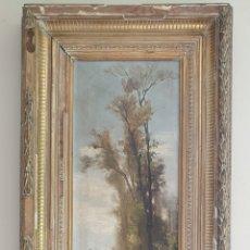 Arte: ESCUELA ESPAÑOLA (XIX) - PAISAJE FLUVIAL CON PASTOR I REBAÑO.OLEO/TELA.ANÓNIMO.. Lote 262957535