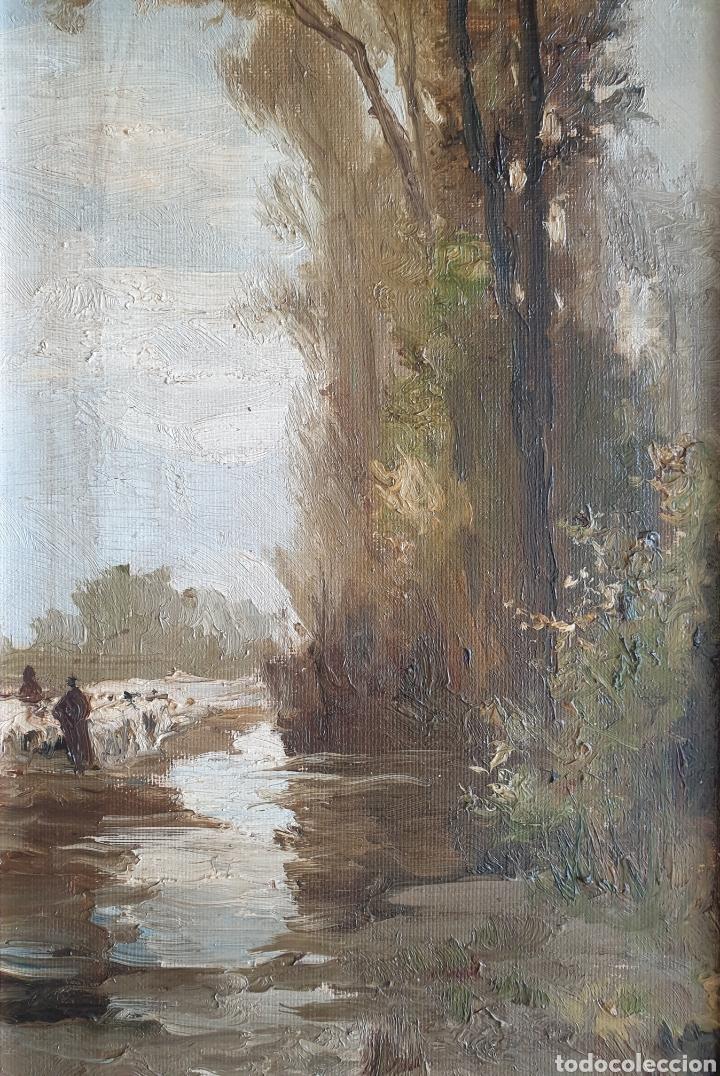 Arte: Escuela Española (XIX) - Paisaje Fluvial con Pastor i Rebaño.Oleo/Tela.Anónimo. - Foto 3 - 262957535