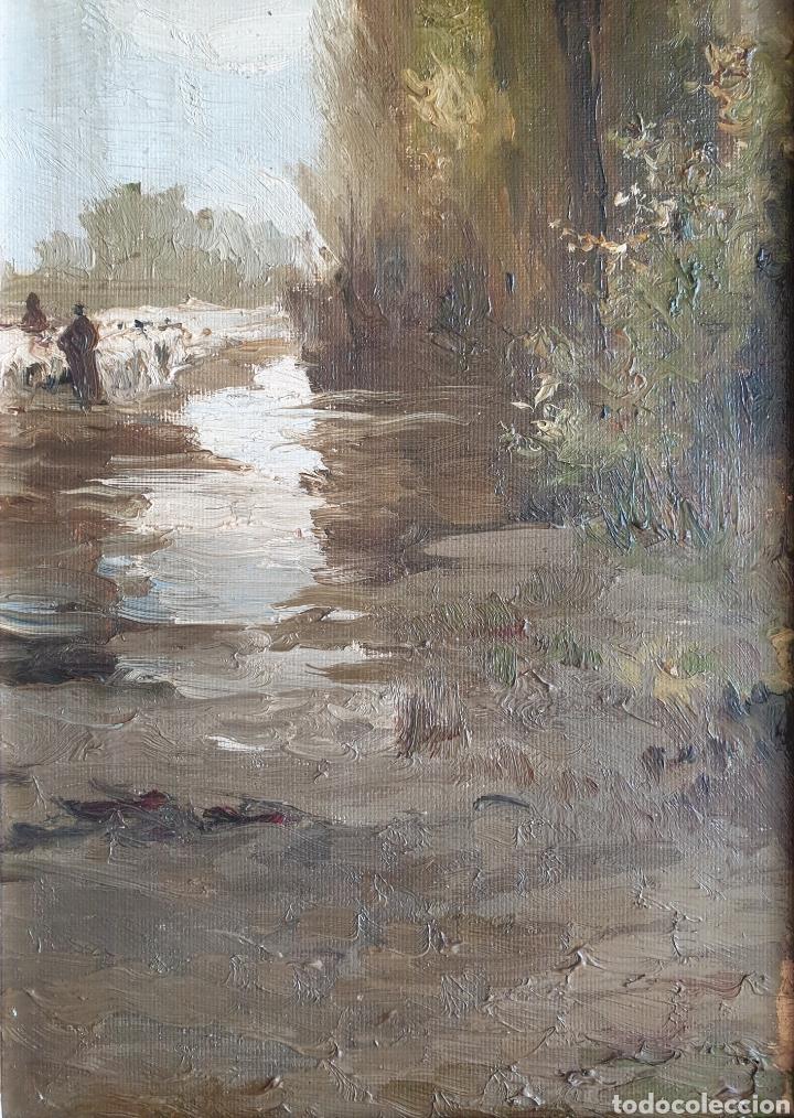 Arte: Escuela Española (XIX) - Paisaje Fluvial con Pastor i Rebaño.Oleo/Tela.Anónimo. - Foto 4 - 262957535