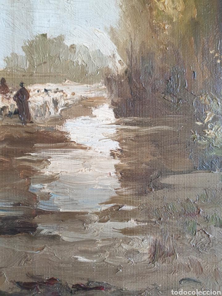Arte: Escuela Española (XIX) - Paisaje Fluvial con Pastor i Rebaño.Oleo/Tela.Anónimo. - Foto 5 - 262957535