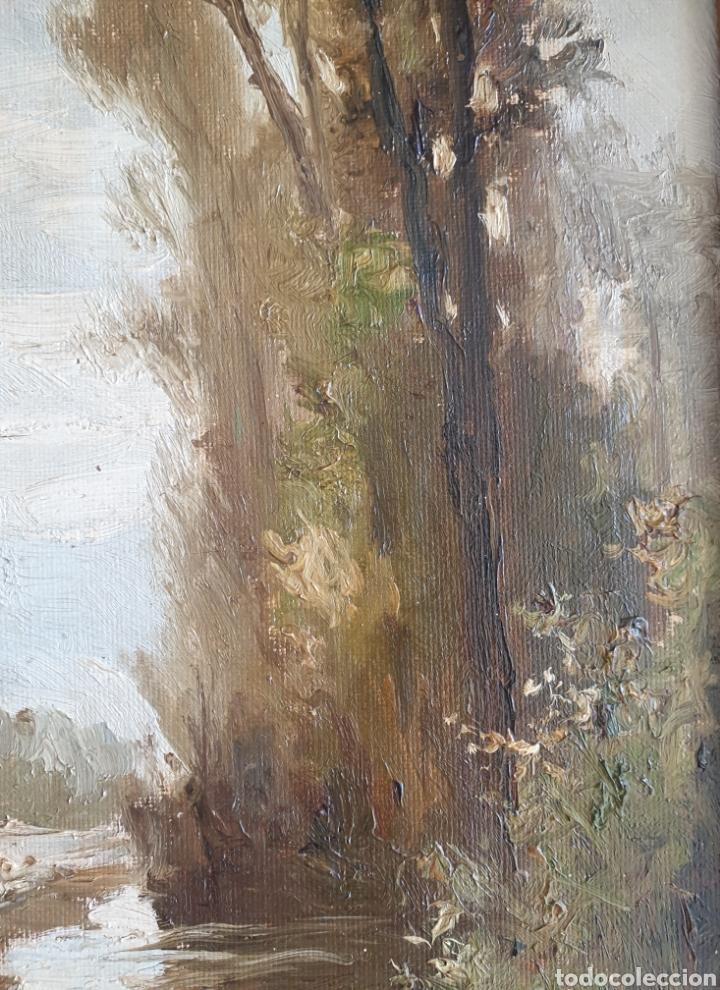 Arte: Escuela Española (XIX) - Paisaje Fluvial con Pastor i Rebaño.Oleo/Tela.Anónimo. - Foto 7 - 262957535