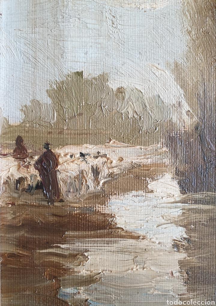 Arte: Escuela Española (XIX) - Paisaje Fluvial con Pastor i Rebaño.Oleo/Tela.Anónimo. - Foto 11 - 262957535