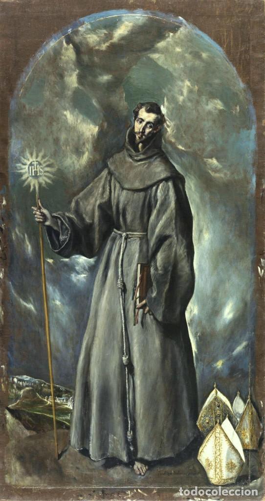 Arte: Óleo sobre lienzo de Ignacio Zuloaga, inédito, firmado. San Bernardino de Siena del Greco. 102x72. - Foto 16 - 263032795