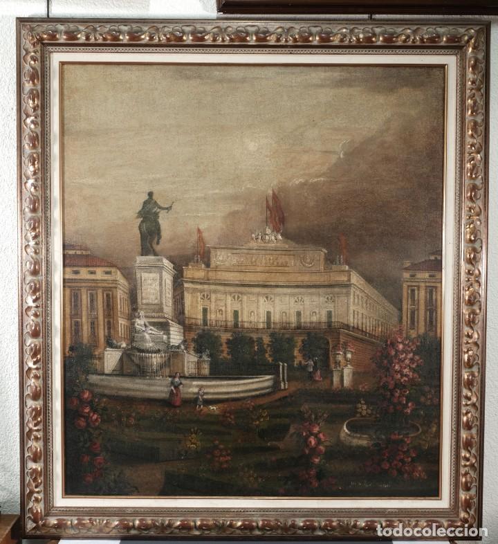 Arte: Óleo sobre lienzo Antiguo Teatro de la Opera de Madrid firmado José Massó hacia 1900 - Foto 2 - 263042355