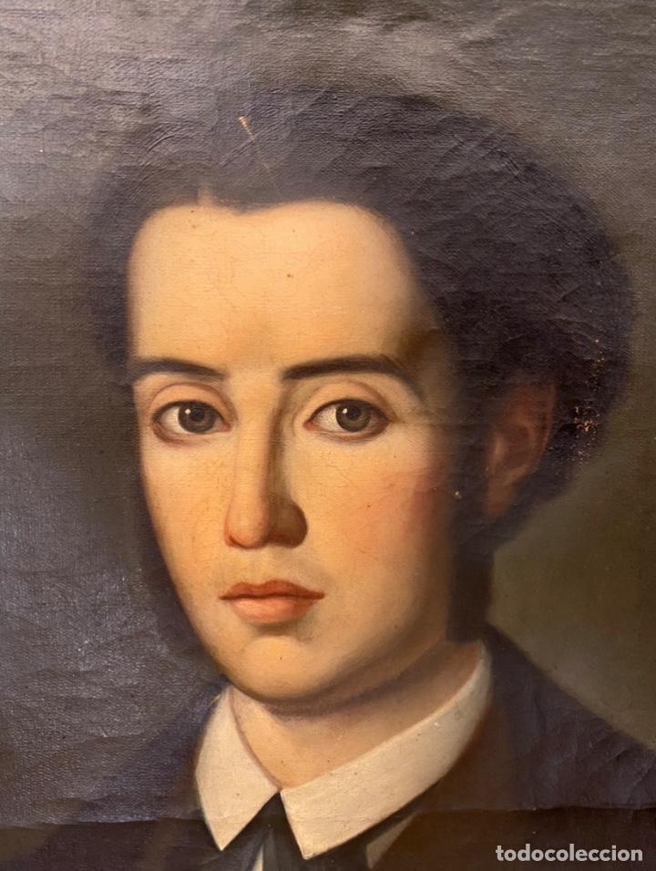 Arte: Antiguo retrato de caballero , óleo sobre lienzo. S. XIX, marco de oro corlado - Foto 3 - 261250160
