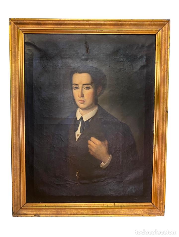ANTIGUO RETRATO DE CABALLERO , ÓLEO SOBRE LIENZO. S. XIX, MARCO DE ORO CORLADO (Arte - Pintura - Pintura al Óleo Antigua siglo XVIII)