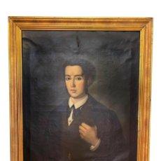Arte: ANTIGUO RETRATO DE CABALLERO , ÓLEO SOBRE LIENZO. S. XIX, MARCO DE ORO CORLADO. Lote 261250160
