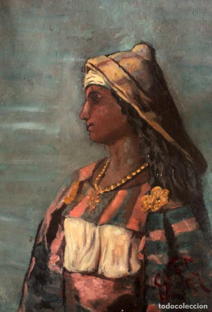 Arte: Escuela Orientalista del siglo XIX. Perfil de mujer. Oleo sobre lienzo. Gran calidad. Firmado. - Foto 2 - 263462105