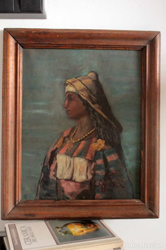 Arte: Escuela Orientalista del siglo XIX. Perfil de mujer. Oleo sobre lienzo. Gran calidad. Firmado. - Foto 3 - 263462105