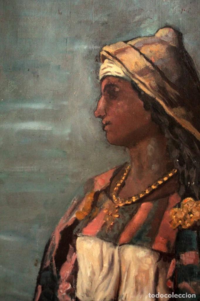 Arte: Escuela Orientalista del siglo XIX. Perfil de mujer. Oleo sobre lienzo. Gran calidad. Firmado. - Foto 4 - 263462105