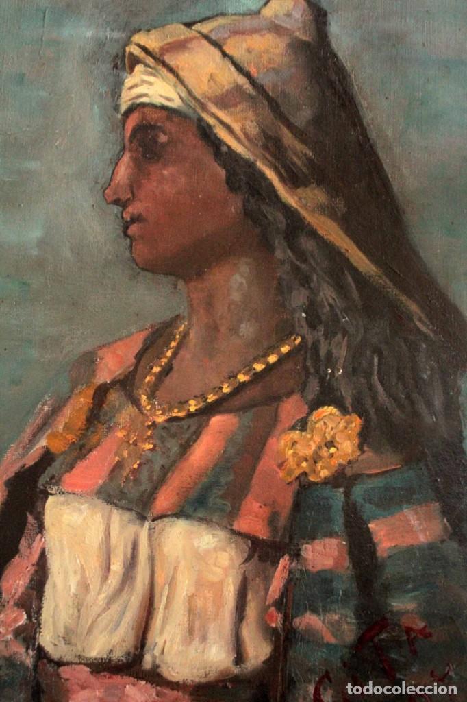 Arte: Escuela Orientalista del siglo XIX. Perfil de mujer. Oleo sobre lienzo. Gran calidad. Firmado. - Foto 5 - 263462105