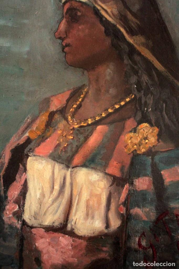 Arte: Escuela Orientalista del siglo XIX. Perfil de mujer. Oleo sobre lienzo. Gran calidad. Firmado. - Foto 6 - 263462105