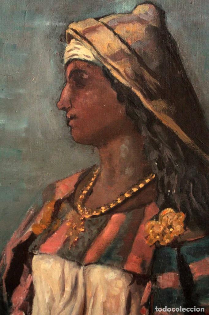 Arte: Escuela Orientalista del siglo XIX. Perfil de mujer. Oleo sobre lienzo. Gran calidad. Firmado. - Foto 8 - 263462105