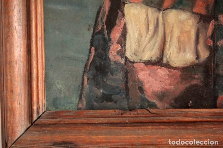 Arte: Escuela Orientalista del siglo XIX. Perfil de mujer. Oleo sobre lienzo. Gran calidad. Firmado. - Foto 9 - 263462105