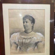 Arte: PINTURA LÁPIZ O CARBONCILLO ESPECTACULAR OBRA FIRMADO POR G. RUIZ AÑOS 1886 . TAMAÑO GRANDEVER FOTOS. Lote 263555915