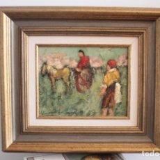 Arte: LUC VAN HECKE (BELGIAN, 1945) - PERSONAJES. FIRMADO Y ENMARCADO 43X38CM. Lote 263712185