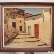 Arte: PINTURA AL OLEO CON ESPATULA, CALLE DE PUEBLO. VISTA RURAL. CON MARCO. 73X63CM. Lote 263725570