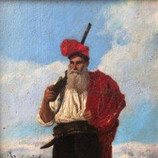 Arte: JOSEP LLUÍS PELLICER (1842-1901) CAZADOR CATALÁN CON BARRETINA, ÓLEO SOBRE MADERA, CON MARCO.. Lote 263947210