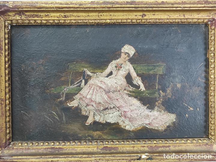 Arte: Preciosa Miniatura - Óleo sobre Tabla Modernista - Dama - Marco Original de Época - Circa 1900 - Foto 2 - 263970055
