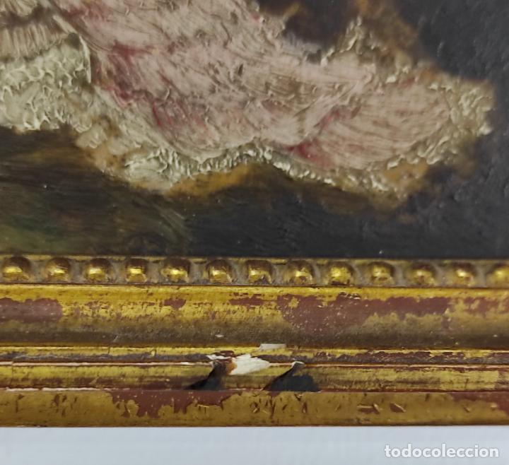 Arte: Preciosa Miniatura - Óleo sobre Tabla Modernista - Dama - Marco Original de Época - Circa 1900 - Foto 4 - 263970055