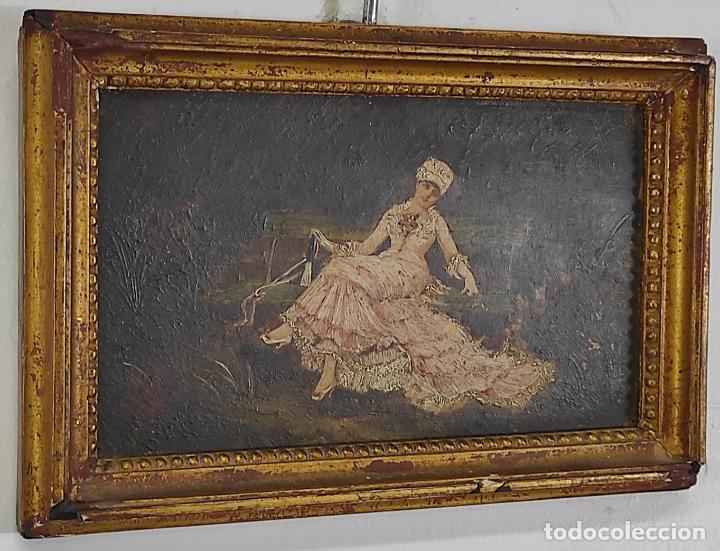 Arte: Preciosa Miniatura - Óleo sobre Tabla Modernista - Dama - Marco Original de Época - Circa 1900 - Foto 5 - 263970055