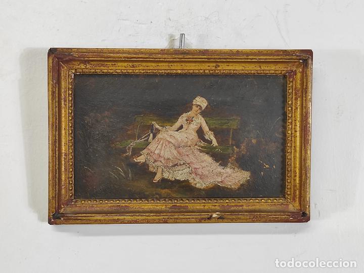 Arte: Preciosa Miniatura - Óleo sobre Tabla Modernista - Dama - Marco Original de Época - Circa 1900 - Foto 7 - 263970055