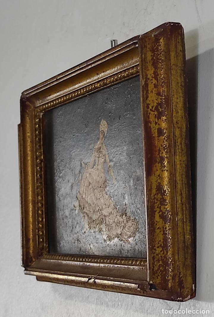 Arte: Preciosa Miniatura - Óleo sobre Tabla Modernista - Dama - Marco Original de Época - Circa 1900 - Foto 8 - 263970055