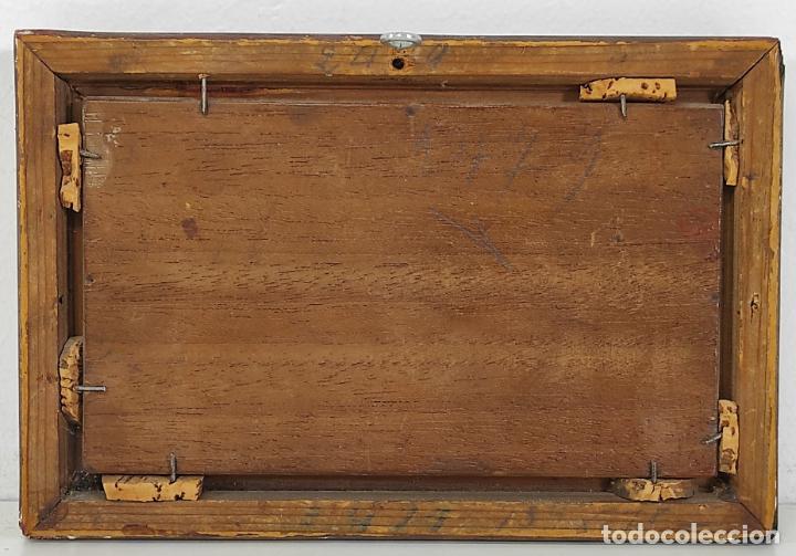 Arte: Preciosa Miniatura - Óleo sobre Tabla Modernista - Dama - Marco Original de Época - Circa 1900 - Foto 9 - 263970055