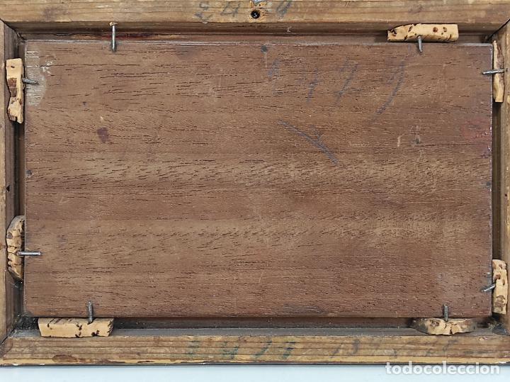 Arte: Preciosa Miniatura - Óleo sobre Tabla Modernista - Dama - Marco Original de Época - Circa 1900 - Foto 10 - 263970055