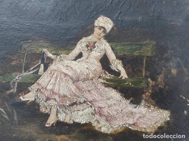 Arte: Preciosa Miniatura - Óleo sobre Tabla Modernista - Dama - Marco Original de Época - Circa 1900 - Foto 11 - 263970055