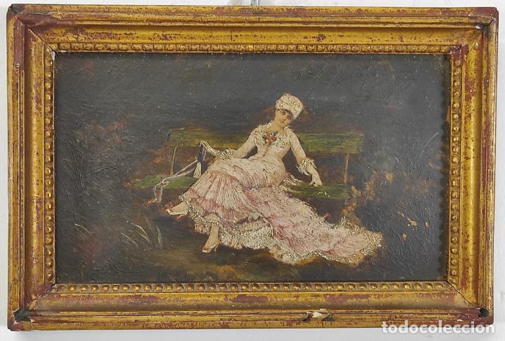 Arte: Preciosa Miniatura - Óleo sobre Tabla Modernista - Dama - Marco Original de Época - Circa 1900 - Foto 12 - 263970055
