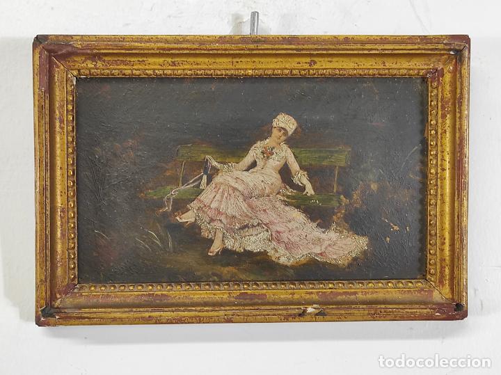Arte: Preciosa Miniatura - Óleo sobre Tabla Modernista - Dama - Marco Original de Época - Circa 1900 - Foto 13 - 263970055