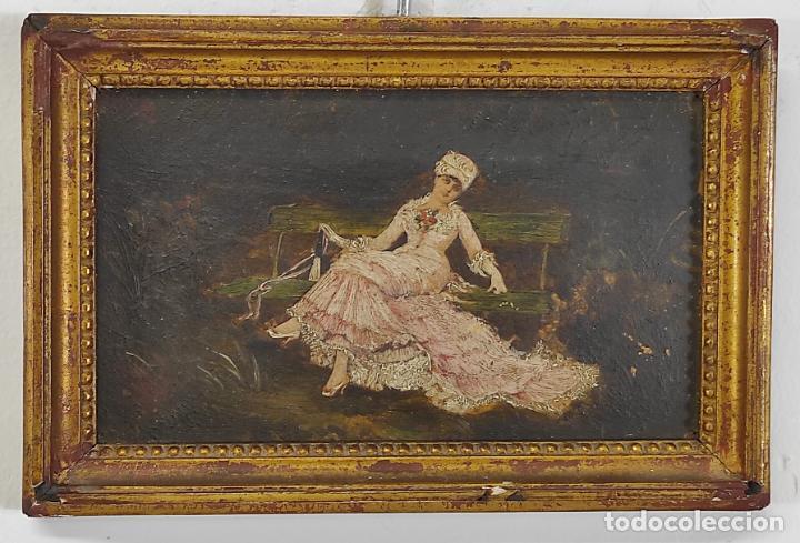 PRECIOSA MINIATURA - ÓLEO SOBRE TABLA MODERNISTA - DAMA - MARCO ORIGINAL DE ÉPOCA - CIRCA 1900 (Arte - Pintura - Pintura al Óleo Moderna siglo XIX)