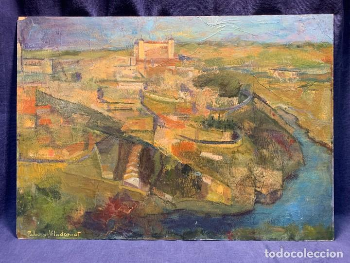OLEO FIRMA P VILADOMAT VISTA DE TOLEDO DESDE EL SUR 46X65CMS (Arte - Pintura - Pintura al Óleo Moderna sin fecha definida)