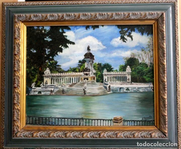 Arte: Retiro de Madrid obra de Gilaberte incluyo marco - Foto 2 - 264163068